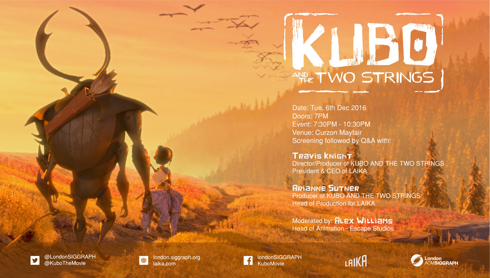 Kubo and the Two Strings – Screening – Q&A Poster