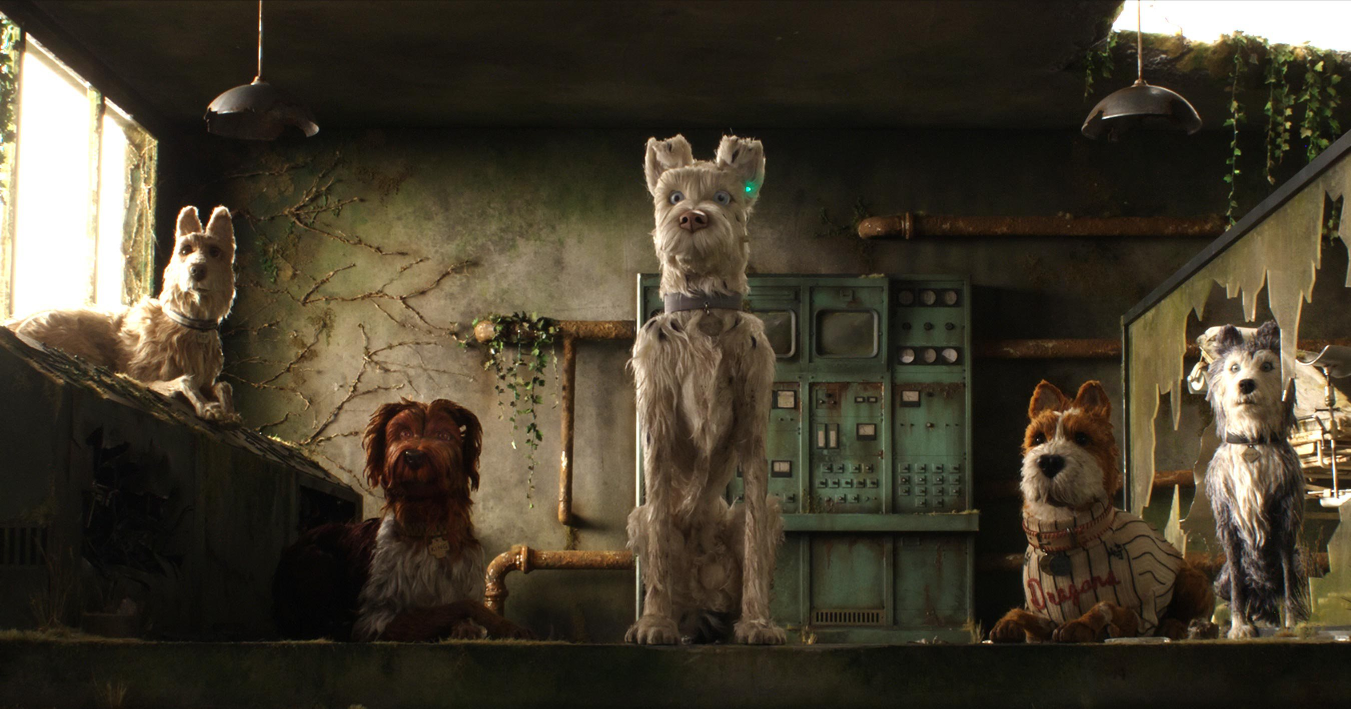 "(From L-R): Edward Norton as ""Rex,"" Bob Balaban as ""King,"" Liev Shreiber as ""Spots,"" Bill Murray as ""Boss,"" Jeff Goldblum as ""Duke"" and Bryan Cranston as ""Chief"" in the film ISLE OF DOGS. Photo Courtesy of Fox Searchlight Pictures. © 2018 Twentieth Century Fox Film Corporation All Rights Reserved"