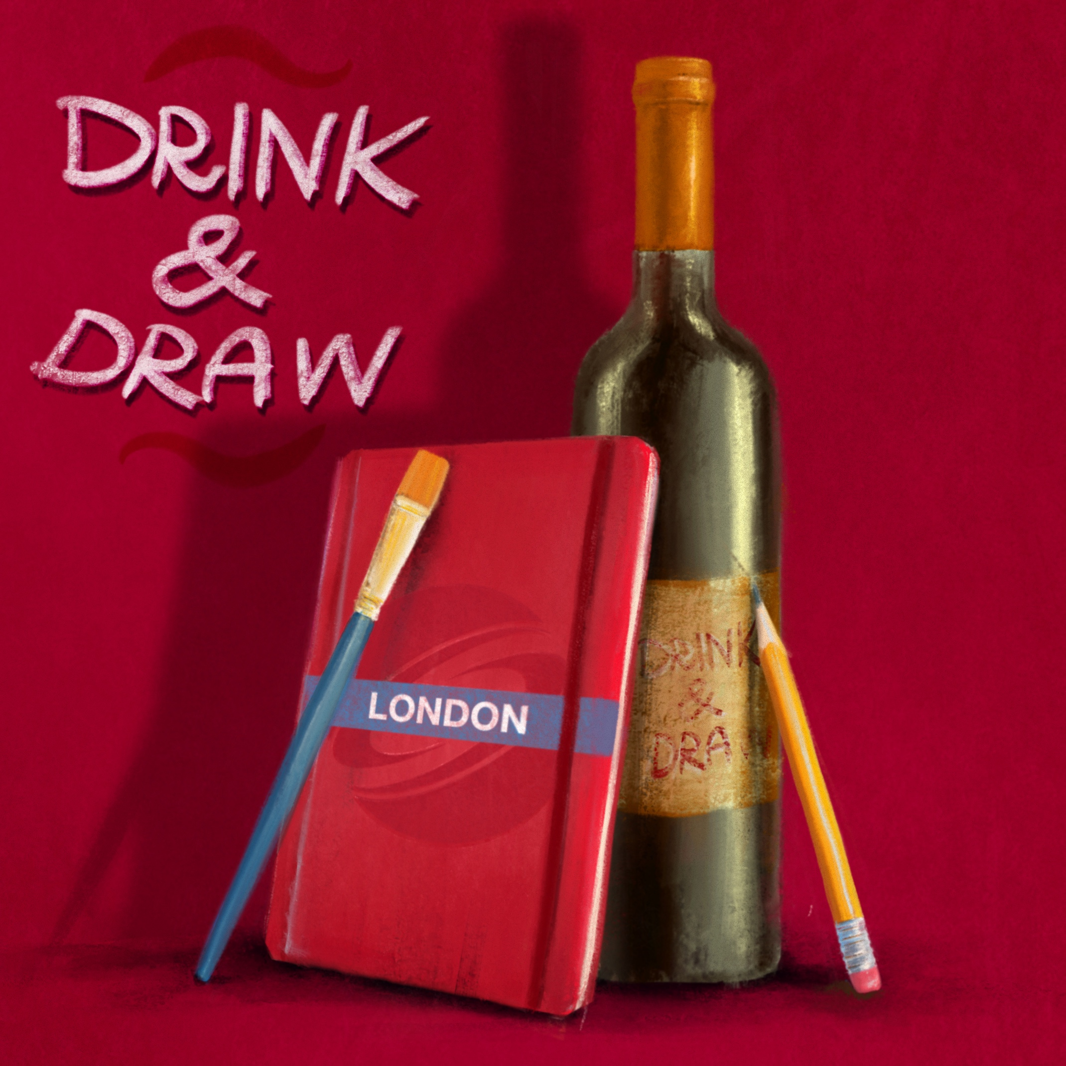 DRINK & DRAW August – Zoom Edition Poster