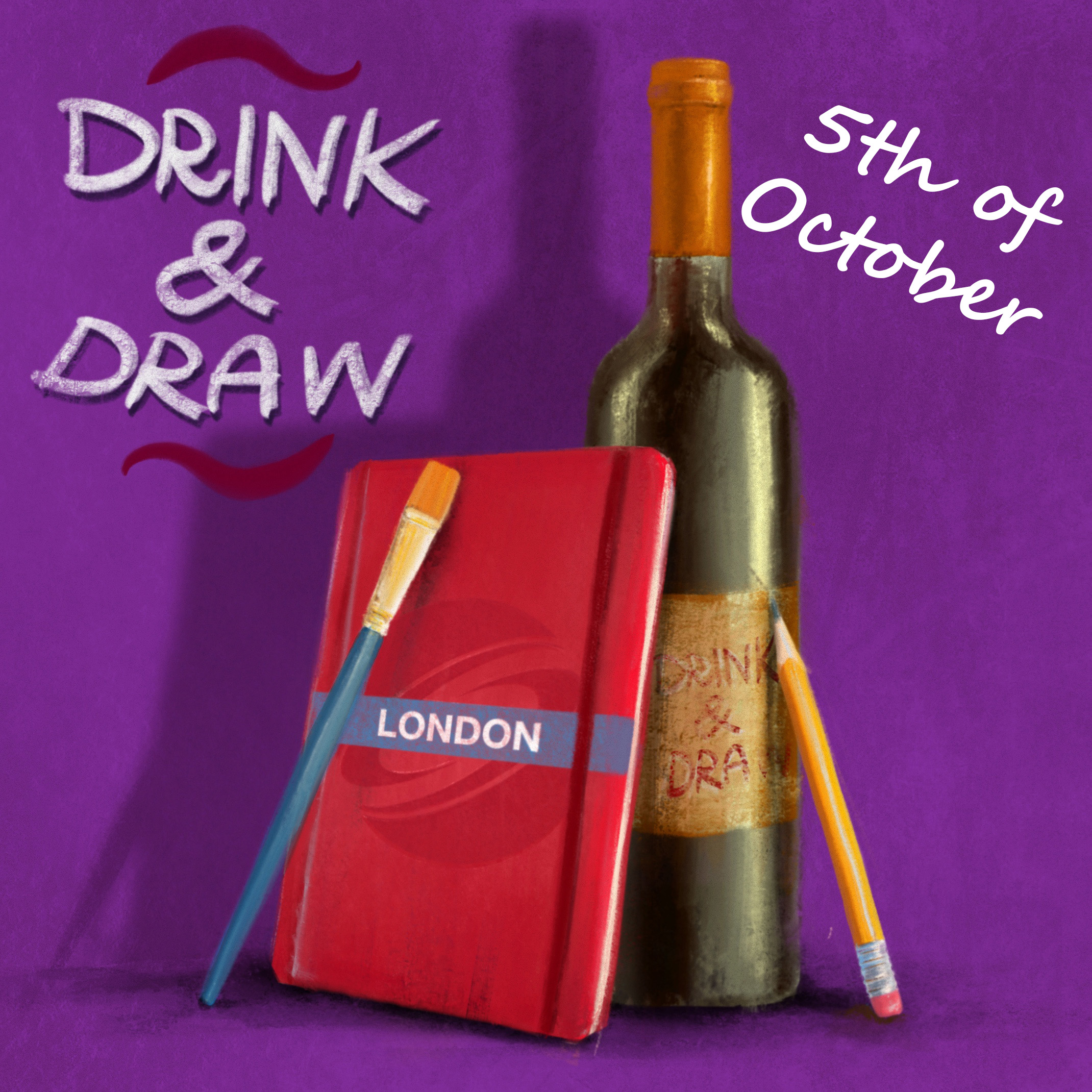 DRINK & DRAW October- Zoom Edition Poster