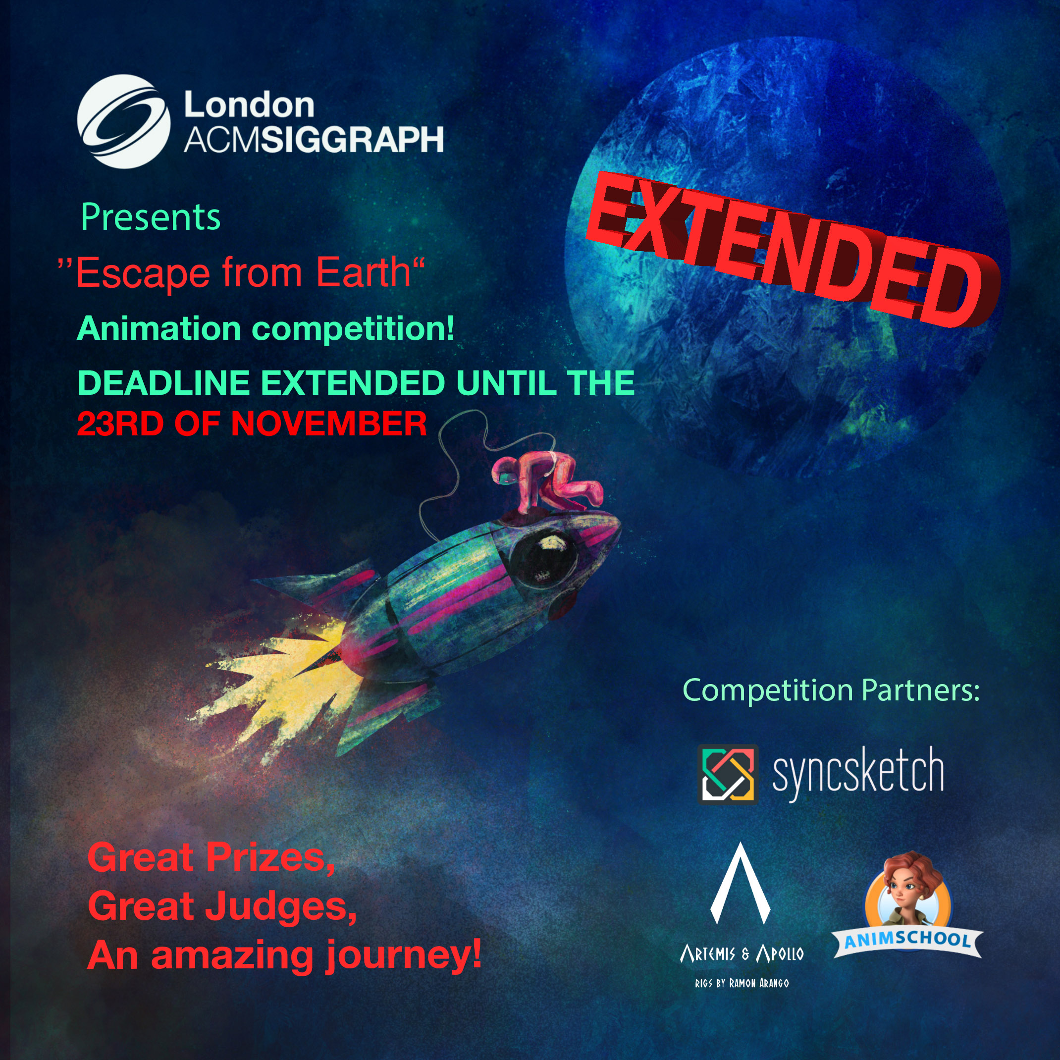 Worldwide Animation Competition – 'Escape From Earth'  – EXTENDED Poster