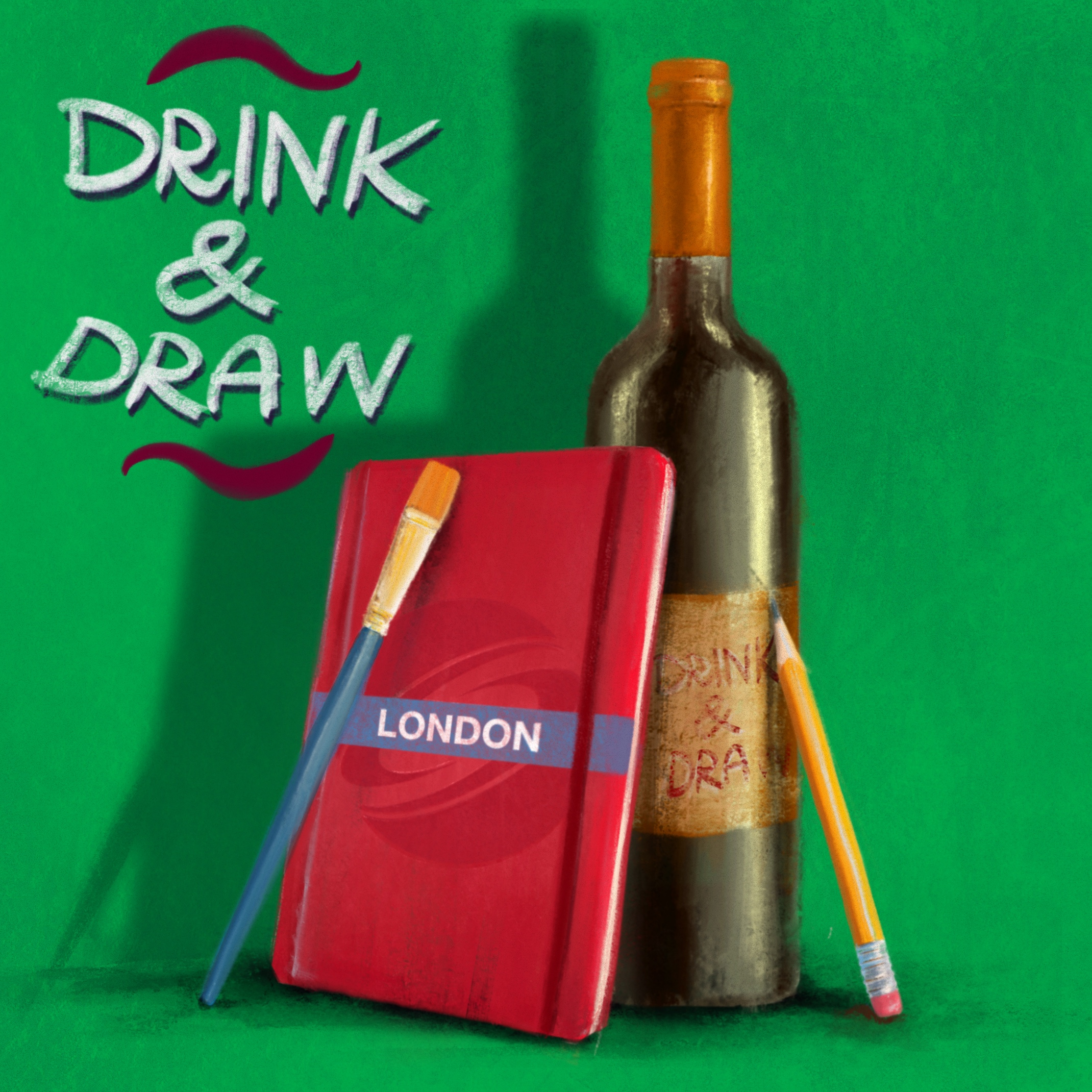 DRINK & DRAW September – Zoom Edition  Copy Poster