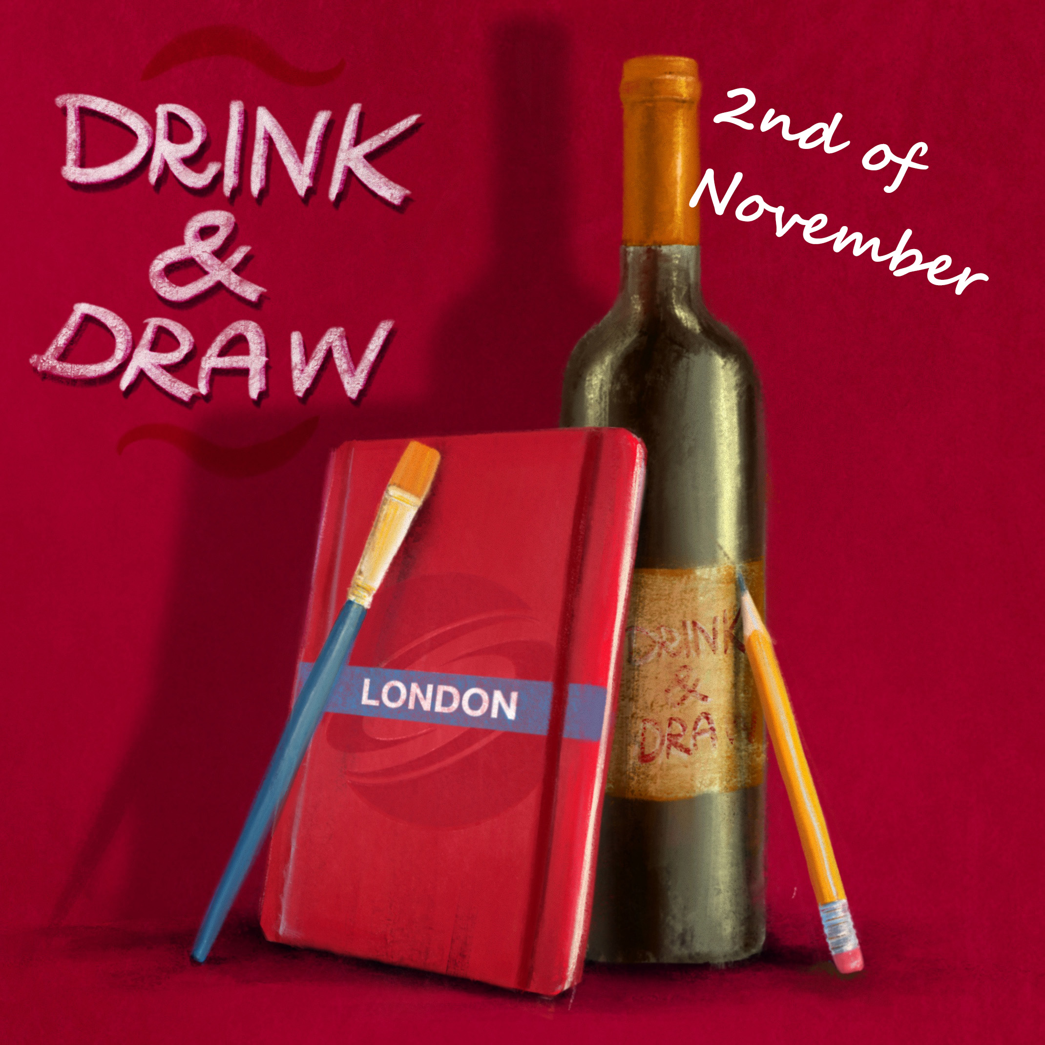 DRINK & DRAW November- Zoom Edition Poster
