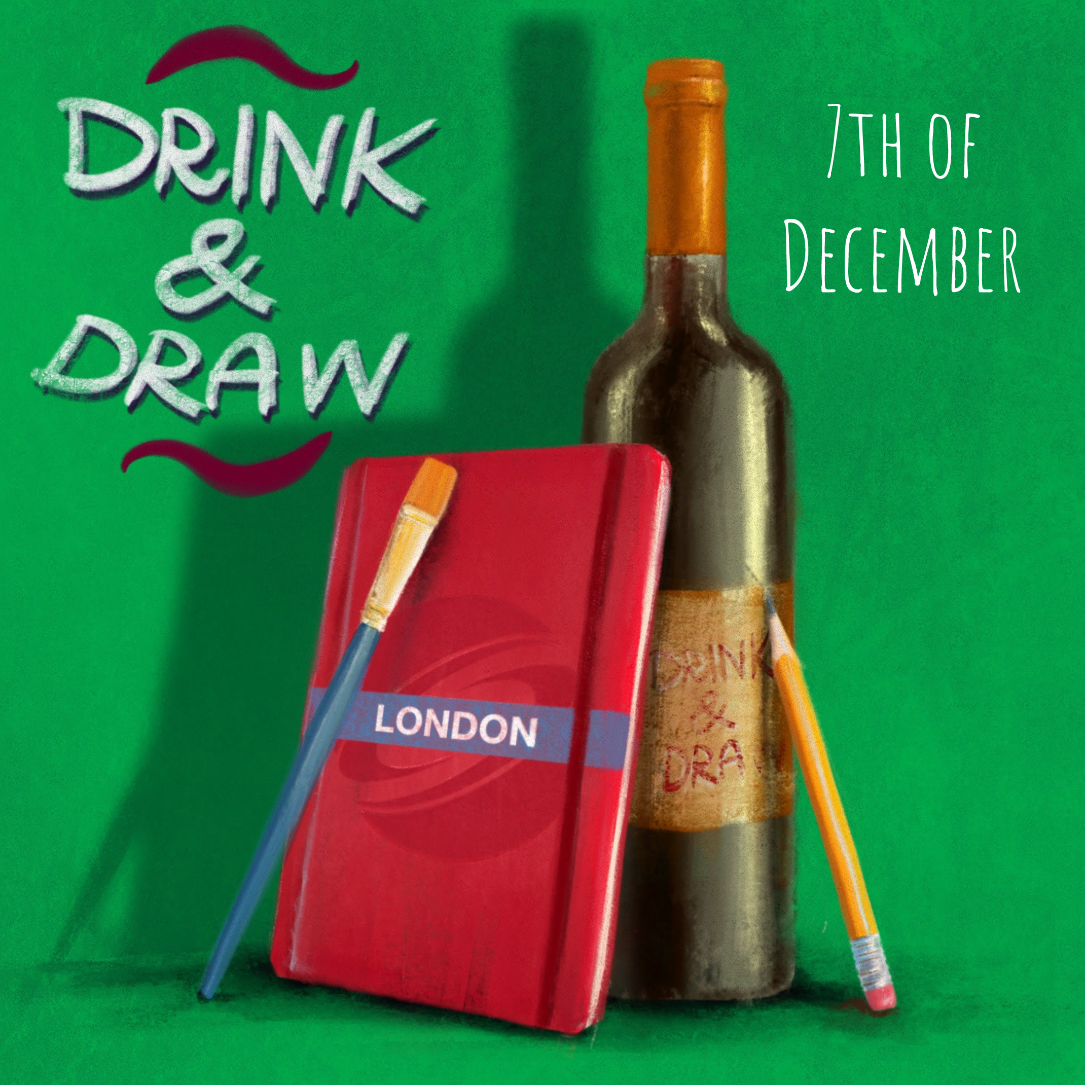 DRINK & DRAW December – Zoom Edition Poster