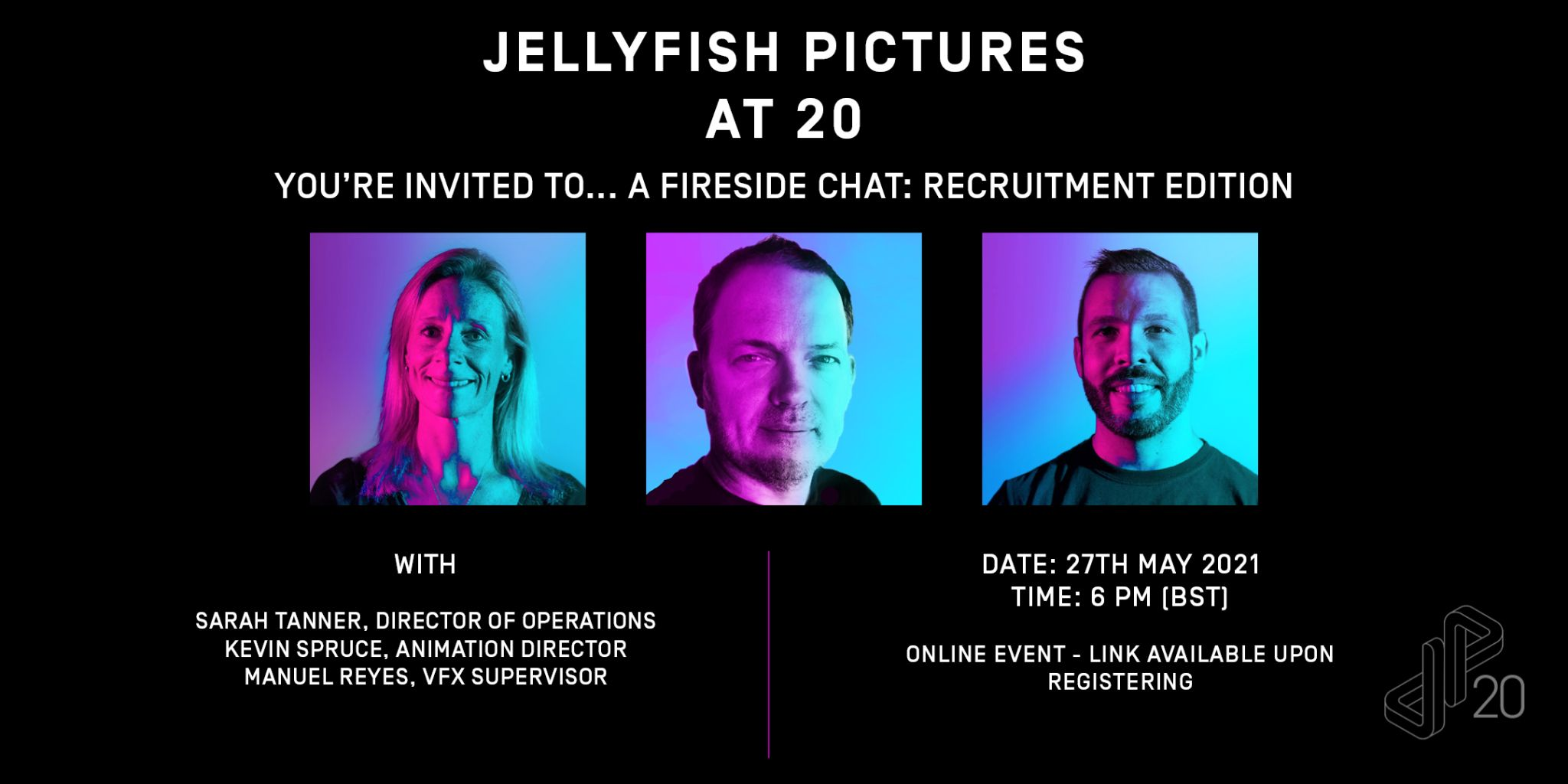 Jellyfish Pictures at 20 – Live Chat and Q&A: Recruitment Edition Poster