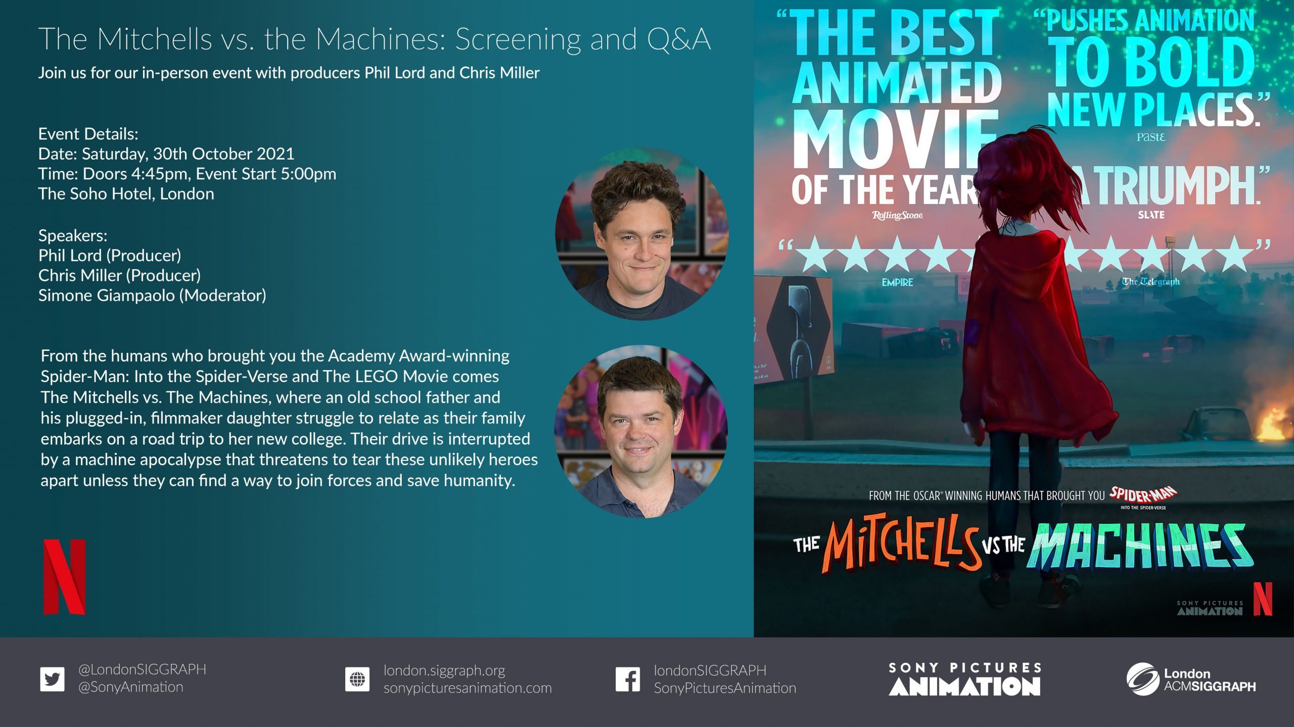 The Mitchells vs. the Machines: Screening and Q&A Poster